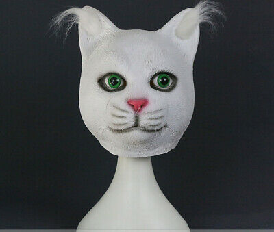 White Cat Cosplay Masks Full Head Latex Animal Masquerade Unisex Party Halloween • 9.99£