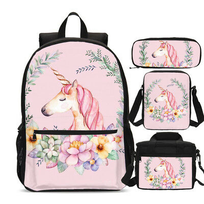AU15.19 • Buy Wholesale Lot Girls Pink Unicorn Backpack For Kids Schoolbag Lunch Bag Satchel