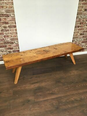 £175 • Buy 1960's Solid Yew Wood Single Plank Thick Natural Center Piece Coffee Table 7021
