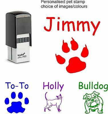 £9.95 • Buy Personalised Pet Name Rubber Stamp Dog Cat Paw Print 4922 Fun Christmas Cards