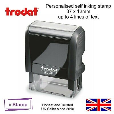 Personalised Self Inking Rubber Stamp 4911 Your Company Logo Business Name Tel • 9.95£