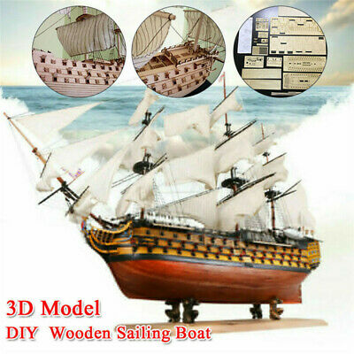 Victory DIY Wooden Sailing Boat Assembly Model Kits Ship Home Office Decor Toy • 26.95£