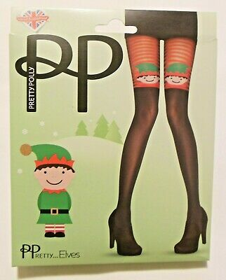 Pretty Polly Festive Xmas Christmas Elf Tights Black Red Coloured - One Size • 9.99£