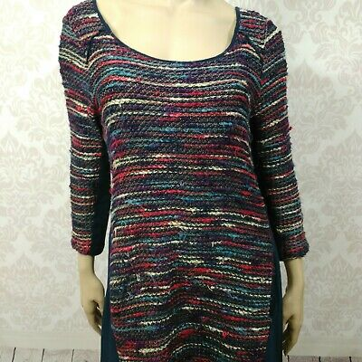 $ CDN30 • Buy Maeve Anthropologie Dress Size L Blue Purple Red Woven A Line Stretch Pockets