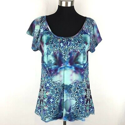 $8.85 • Buy One World Live And Let Live Womens Small Blue Vibrant Print Top Dual Layer Scoop