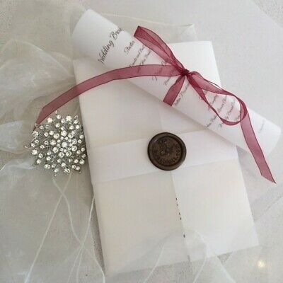 £5 • Buy Wedding Invitation Suite Vellum Wrap Wax Seal And Belly Band