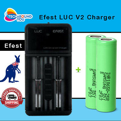 AU49.99 • Buy 2x Samsung 18650 25R Lithium Li-ion Rechargeable Battery + 2 Slot Battery Charge