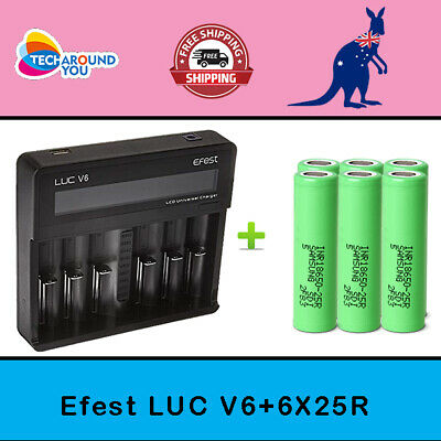 AU107.99 • Buy 6x Samsung 25R Lithium Li-ion Rechargeable Battery +6 Slots Battery Charger