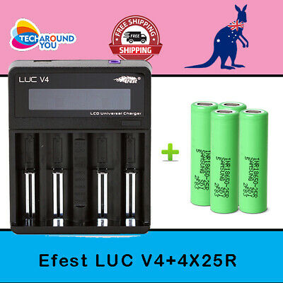 AU80.99 • Buy 4x Samsung 18650 25R Lithium Li-ion Rechargeable Battery +4 Slot Battery Charger