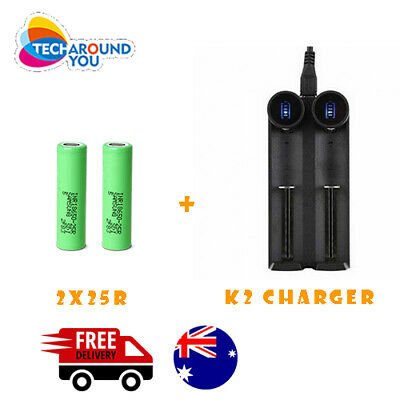 AU32.99 • Buy 2x Samsung 18650 2500mAh 25R Lithium Rechargeable Battery+2 Slot Battery Charger