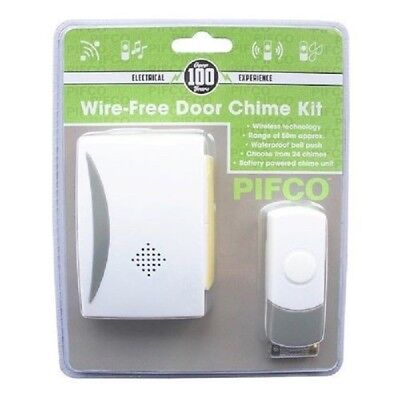 NEW PIFCO  Cordless Wireless Door Bell Kit Chime 50m Range Home Battery Operated • 7.49£