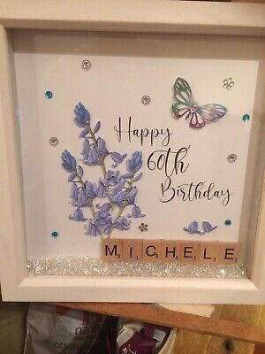 Personalised Scrabble Name Box Frame Picture - Any Age Birthday/ Flower • 12£