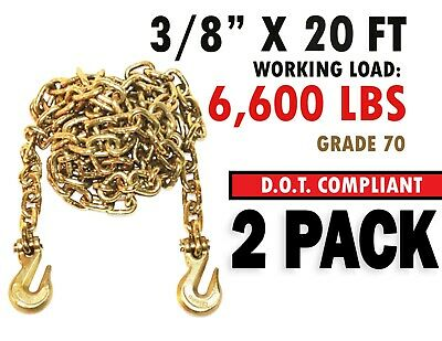 $69.07 • Buy Two (2x) 3/8  X 20' G70 Tow Chain Binder Tie Down Flatbed Truck Trailer Chain
