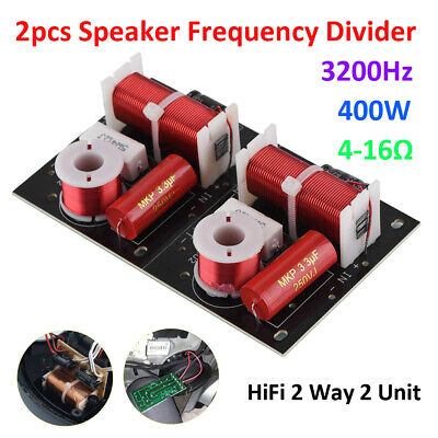 $ CDN25.06 • Buy 2pcs 2 Way HiFi Audio Speaker Crossover Treble+Bass Frequency Divider 3200Hz