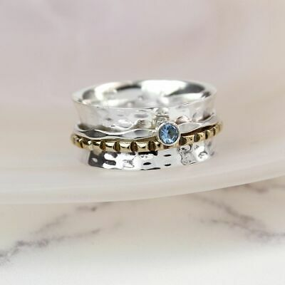 925 Sterling Silver Spinning Ring With Blue Topaz Gemstone Thumb Fidget  • 29.95£