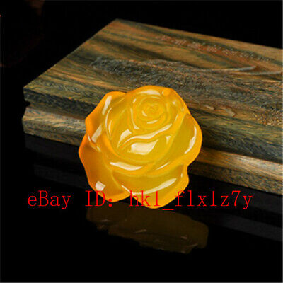 $ CDN6.55 • Buy Yellow Agate Lotus Flower Off Evil Spirits Pendant Amulet Gifts For Men Women