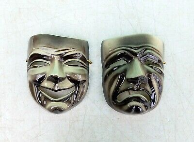 $60 • Buy Ceramic Arts Studio Pottery Madison COMEDY & TRAGEDY Theater Mask Wall Plaques