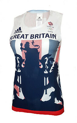 Adidas Running Singlet Womens 10 Team GB Vest Sleeveless T Shirt Tank Top  • 9.99£