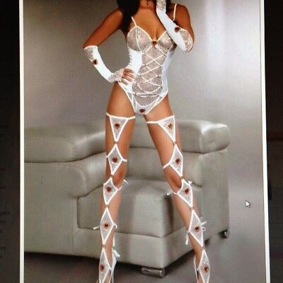 Sexy Club STRIP LAP POLE WHITE 6 PIECE GARTINI TEDDY Outfit Dance Party Wear • 23.50£