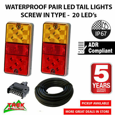 AU36.50 • Buy LED TRAILER TAIL LIGHT KIT PAIR PLUG 8m 5 CORE WIRE CARAVAN BOAT UTE Waterproof