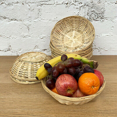 Set Of Round Woven Bamboo Fruit Snacks Bread Small Wicker Storage Gift Baskets • 5.99£