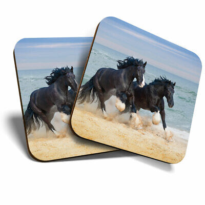 2 X Coasters - Shire Horses Animal Ocean Home Gift #12681 • 5.99£