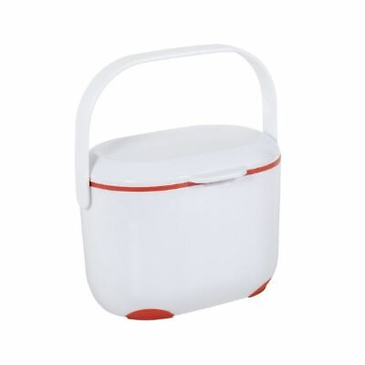 Mini Food Waste Bin Addis 2.5 L Kitchen Compost Caddy Small Removable Lid WHT/RD • 12.99£
