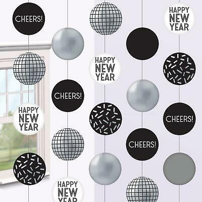£7.19 • Buy New Years Eve Party Disco Ball String Reflective Silver Black Hanging Decoration