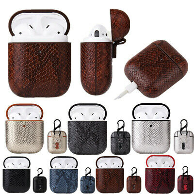 $ CDN5.44 • Buy For Apple Airpods 1/2 Hook Earphone Charging Box Snake Skin Leather Case Cover