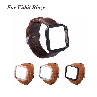 $ CDN14.74 • Buy For Fitbit Blaze Watch Genuine Leather Band Strap Wristband+Frame Replacement