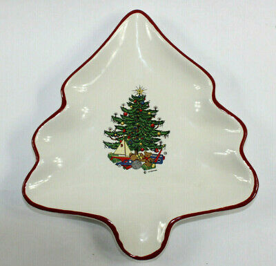 $35 • Buy Cuthbertson American Christmas Tree Shaped Dish White With Red Trim England