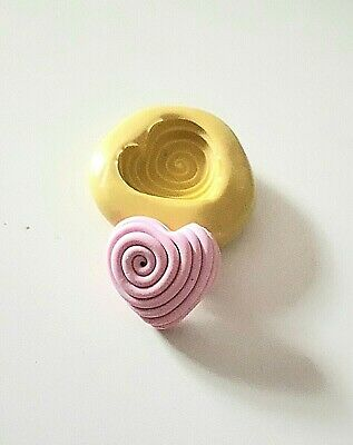 Small Spiral HEART Silicone Mould 20 Mm Cake Decorate Fondant Polymer Clay Fimo • 4.50£