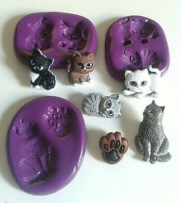 CATS KITTENS PAW Silicone Mould Set Flatback FOOD SAFE Fimo Clay Cake Decorate • 6.90£