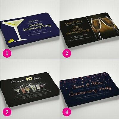 PERSONALISED Invites Anniversary Invitations 10th 15th 20th 30th MANY DESIGNS • 14.99£