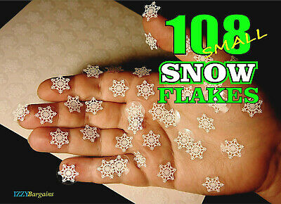108 CHRISTMAS SNOWFLAKES STICKERS Mini Labels Seal Decor For Gifts Presents Bags • 2.89£
