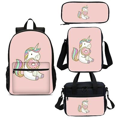 AU17.99 • Buy Unicorn Donuts Kids Girls Backpack Set School Bag Shoulder Bag Pen Case Lot