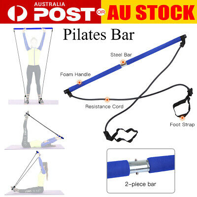 AU27.07 • Buy Portable Pilates Bar Kit Resistance Band Muscle Toning Bar Home Gym Body Y8P9