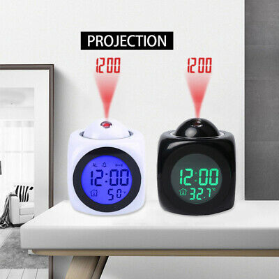 AU12.44 • Buy Digital Projection Alarm Clock With LCD Display Voice Talking LED Projector