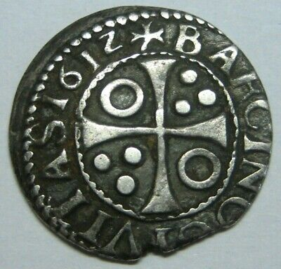 $ CDN104.14 • Buy 1612 Philip Iii 1/2 Real Cob - 1/2 Croat Barcelona Spanish Silver Colonial Era