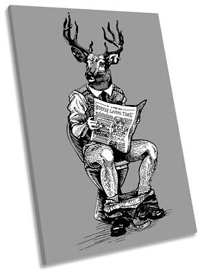 Stag Toilet Newspaper Print CANVAS WALL ART Portrait Picture Grey • 23.99£