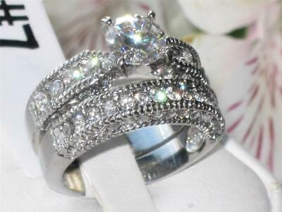 Engagement Ring Set Ladies Silver Cz Stainless Steel Wedding Band 2pcs New 1318  • 16.99£
