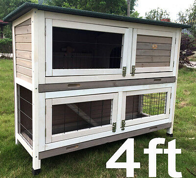 £129.99 • Buy 4ft LARGE GREY RABBIT HUTCH GUINEA PIG HUTCHES RUN 2 TIER DOUBLE DECKER ROGER XL