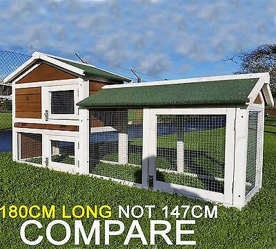 Large  Brown Rabbit Hutch Guinea Pig Hutches Run 2 Tier Double Decker Cage  • 149.95£