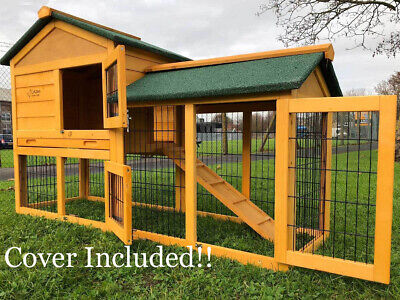 £139.99 • Buy Rabbit Hutch Guinea Pig Hutches Run 2 Tier Double Decker Cage Cover Included