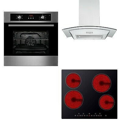 Cookology Digital Fan Oven, Touch Control Ceramic Hob & Curved Cooker Hood Pack • 424.99£