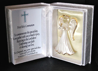First Holy Communion Commemorate Personalised Angel Gift For Boy #7 • 19.99£