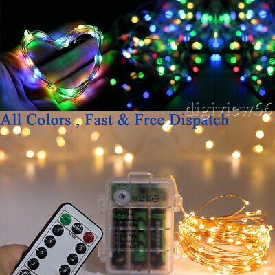 XMAS LED Battery /USB String Fairy Lights Copper Wire Party Decr+ Remote Control • 5.23£