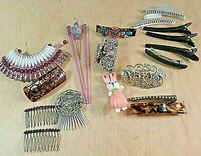 Hair Clip Lot~Barrettes~Pins~Vintage~Current~Costume Jewelry • 9.95$