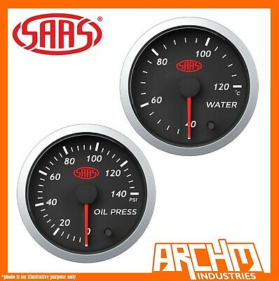 AU103.45 • Buy SAAS 52mm Water Temperature Gauge 40-120 & Oil Pressure 0-140 Street 2  Black