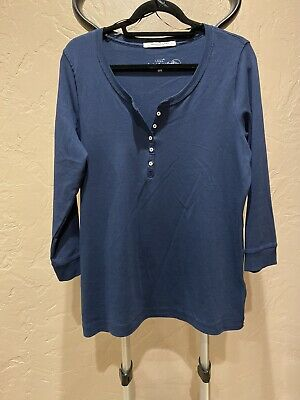 $11.50 • Buy LOGG HM Womens Top Size XL Blue Half Button 3/4 Sleeve Henley Tunic NWOT